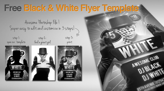 free black and white flyer template