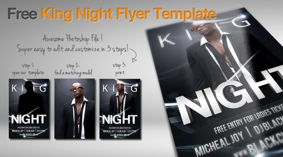 free king night flyer template