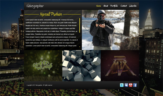Impressive Videographer Website Portfolio Layout in Photoshop