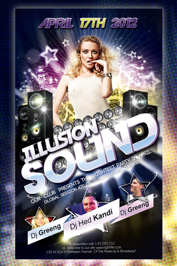Club flyer design Illusion Sound 12 Free and Paid Party Flyer Templates in PSD