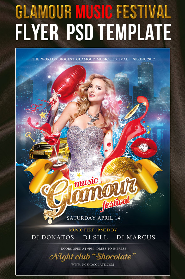 Flyer PSD Template Glamour Music Festival 12 Free and Paid Party Flyer Templates in PSD