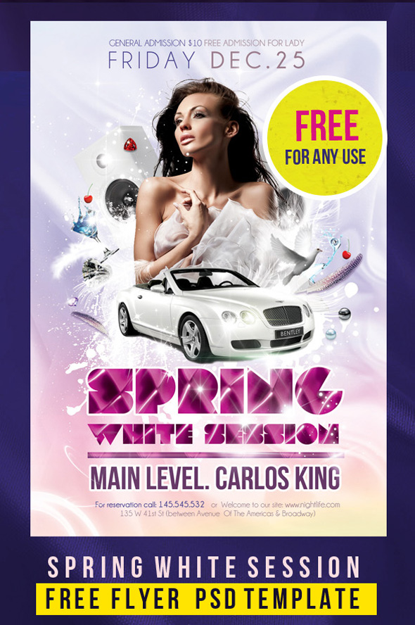 Free Flyer PSD Template Spring White Session 12 Free And Paid Party Flyer  Templates In PSD