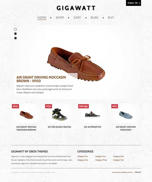 Gigawatt 20 Best Ecommerce Themes for WordPress Website
