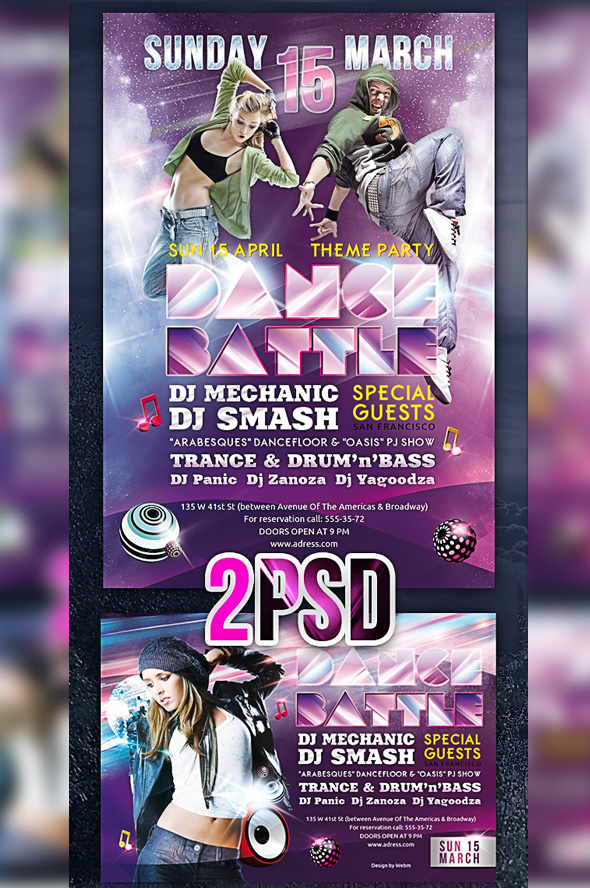 Party flyer PSD template Dance Battle 12 Free and Paid Party Flyer Templates in PSD