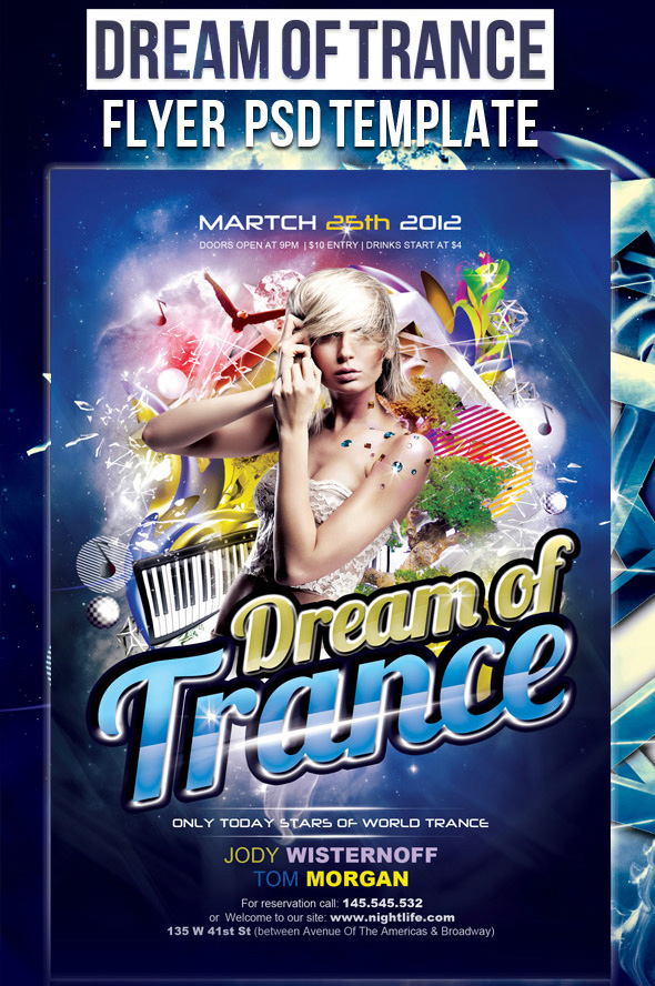 Party flyer PSD template Dream of Trance 12 Free and Paid Party Flyer Templates in PSD