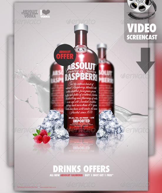 A3 Drinks Ad Poster Flyer Template
