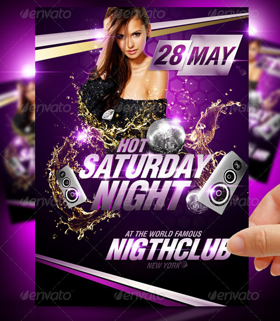 Hot Saturday Night Party Flyer Template