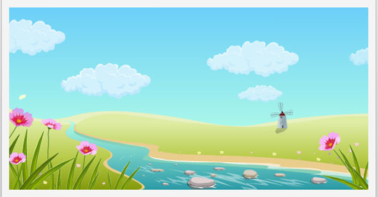 Animated Summer Landscape With River and Mill Marvelous 35 Premium Flash Animations with Source Files