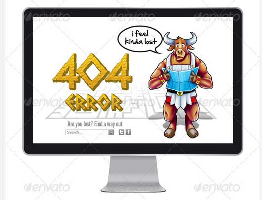 Cartoon style Error 404 Error Design Resources to Get More Attention
