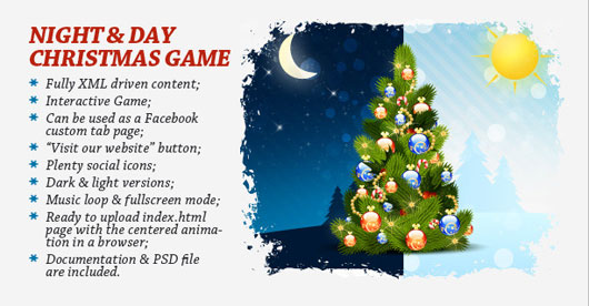 Night Day Christmas Game and Greeting card Marvelous 35 Premium Flash Animations with Source Files