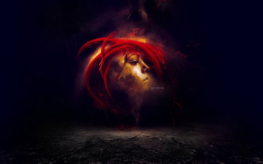 Create an Awesome Floating Face Manipulation with Fiery Hair in Photoshop