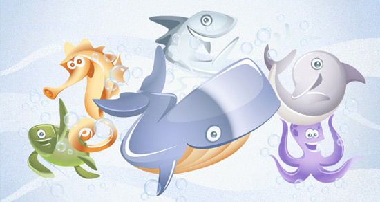 Marine Vector Animals Collection vol1 | Vector Characters
