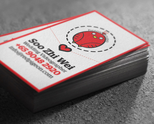 Red pigeon studiness card design