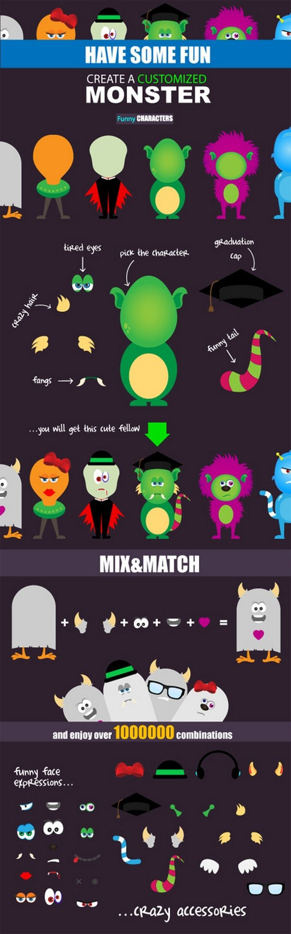The Funny vector Monsters kit