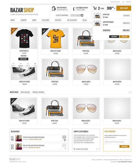 bazarshop ecommerce theme A Perfect Solution for Online shop using WordPress Themes