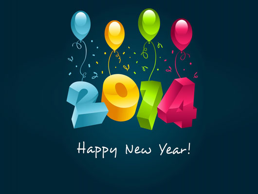 3D New Year 2014 Wishes HD Wallpaper