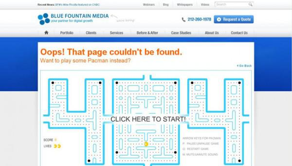 Blue Fountain Media 404 Error Page Design