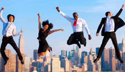 employees jumping