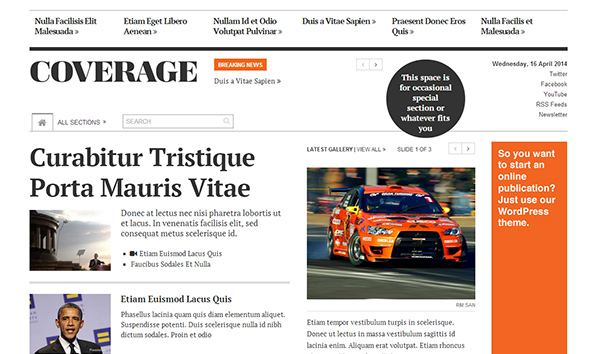 Coverage 50+ WordPress magazine themes for news sites