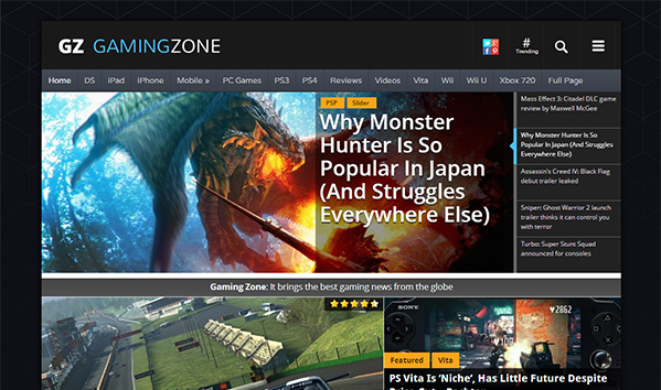 GamingZone 50+ WordPress magazine themes for news sites