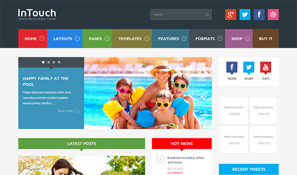 InTouch 50+ WordPress magazine themes for news sites