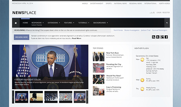Newsplace 50+ WordPress magazine themes for news sites