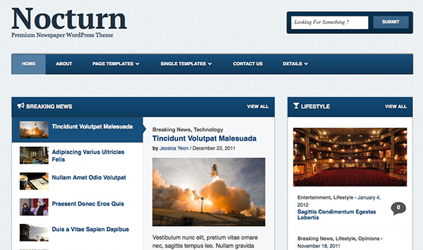 Nocturn 50+ WordPress magazine themes for news sites