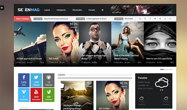 SevenMag 50+ WordPress magazine themes for news sites