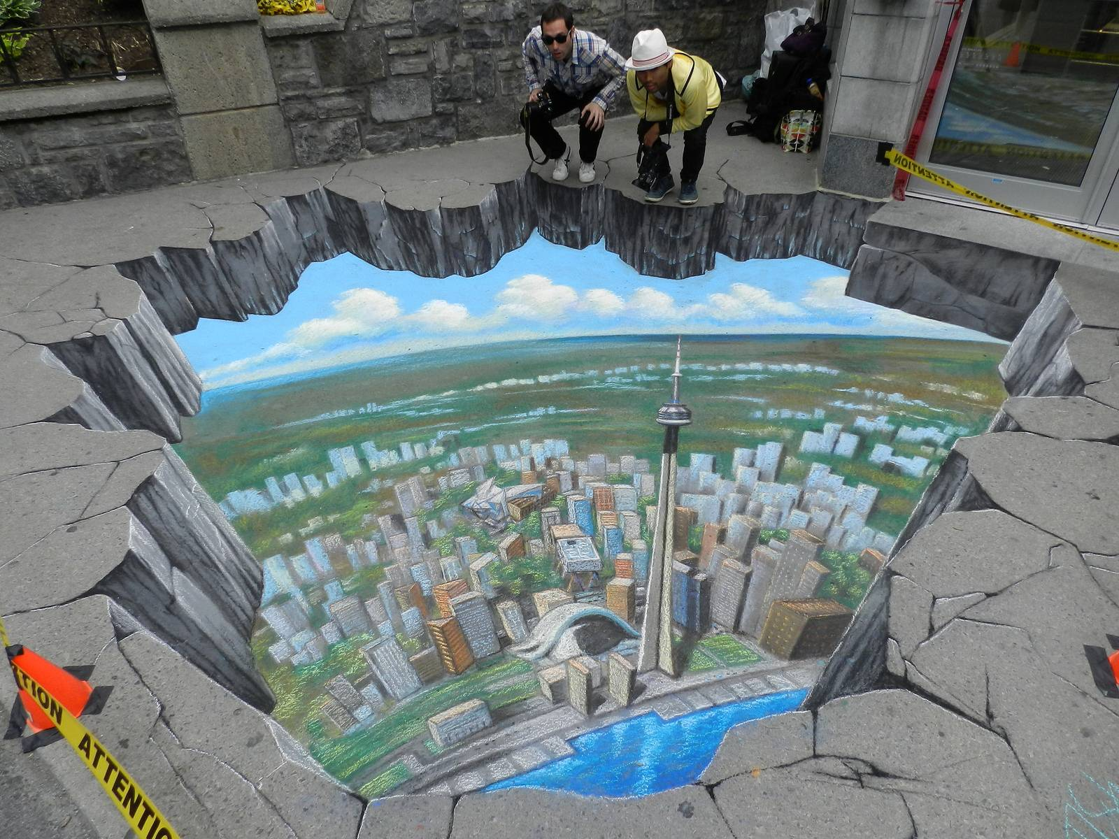 Breathtaking 3d street art 3d chalk art for 3d street painting mural art