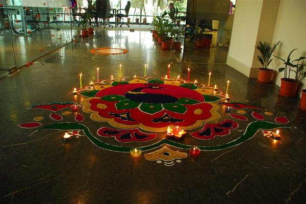 diwali-decorations-at-office-enterence
