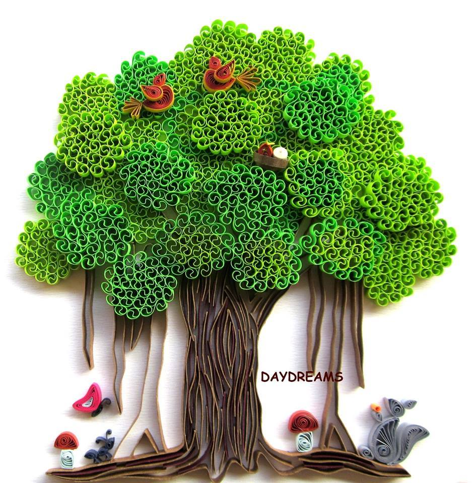 Quilling Art Trees