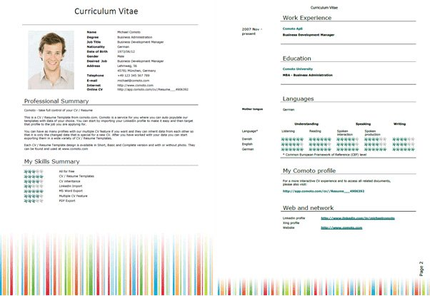 Resume Template Word - Download Free Resume Template For Microsoft