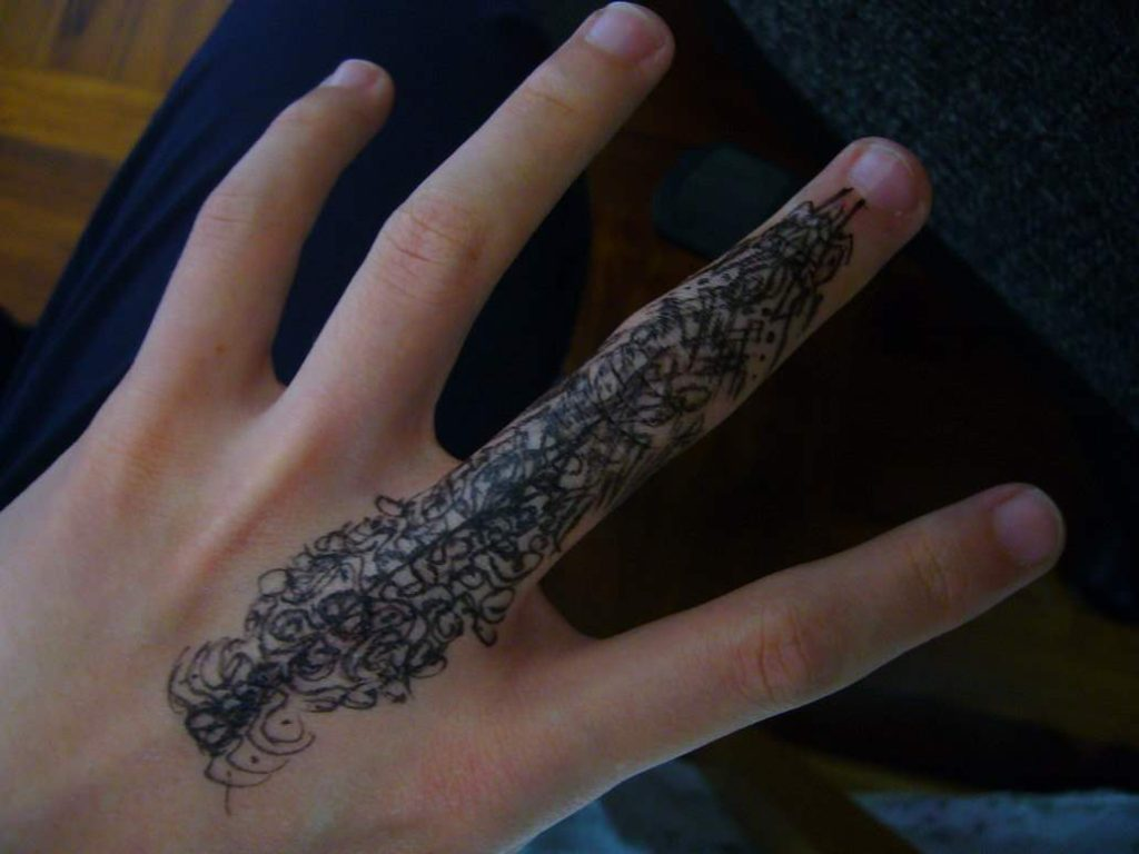Artistic Finger Tattoo