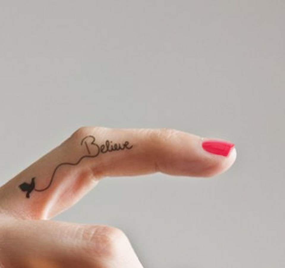 Believe Tattoo on Finger