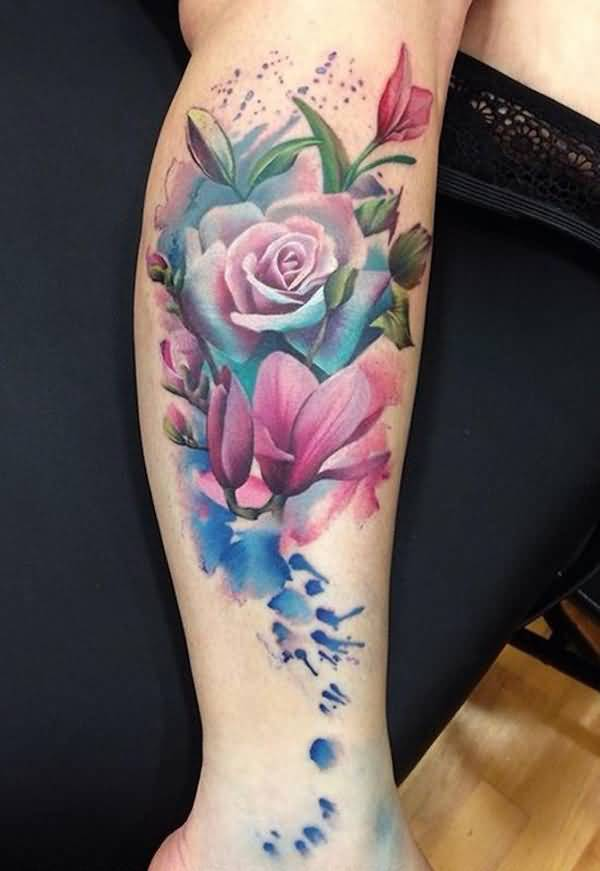 magnolia flowers tattoos watercolor