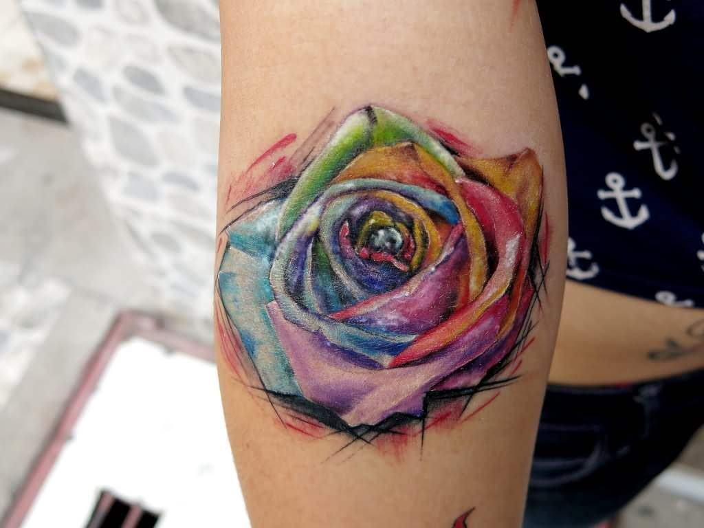 rose watercolor tattoo on arm