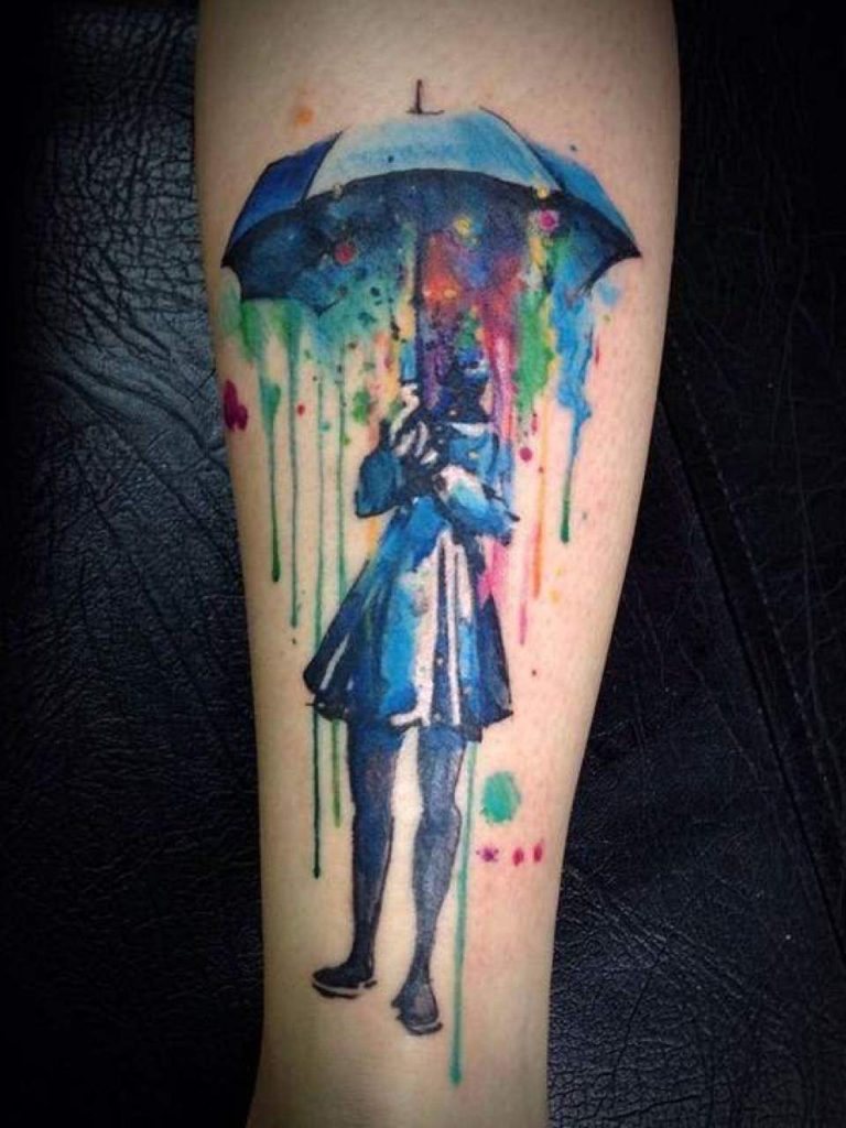 colorful rain water tattoos
