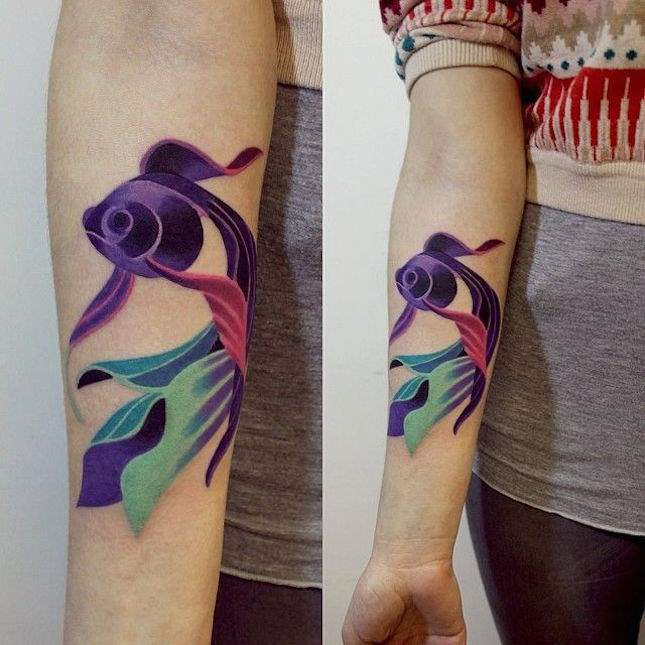 Fish arm tattoos with watercolor