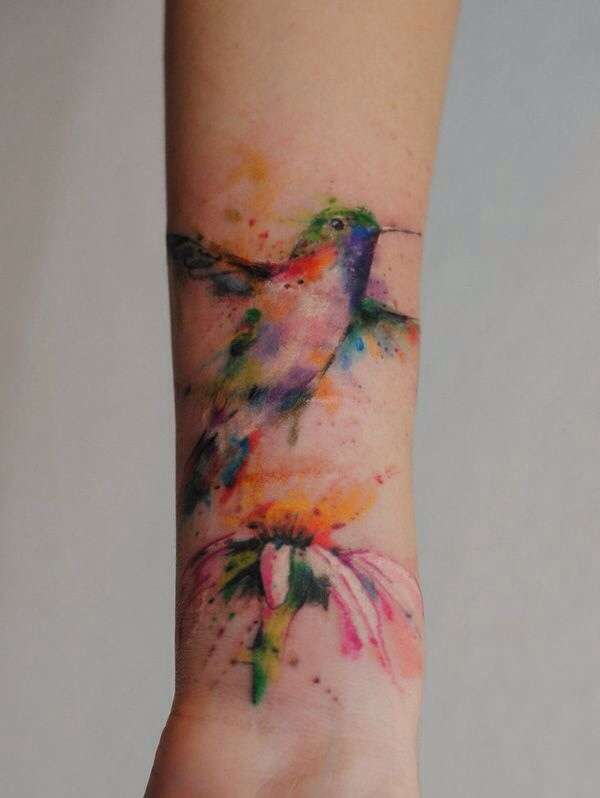 hummingbird tattoos watercolor